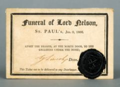 An original invitation to Lord Nelson's funeral at St. Paul's, January 9th 1806 Signed by the Dean