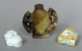 A small jade square section seal Together with a miniature carved vase; and a model of a dog-of-fo.