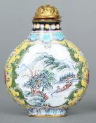 An 18th/19th century Chinese yellow ground gilt copper and Canton enamel snuff bottle and stopper