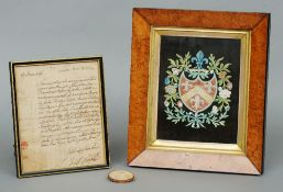 A 19th century painted and decoupaged crest for Hippesley together with an 18th century letter from