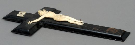 A 19th century carved ivory Corpus Christi figure Typically modelled wearing a rope tied perizonium,