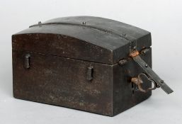 An early, possibly 17th century iron travelling missal box The domed banded lid above the main
