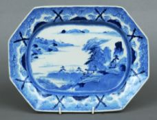 An 18th century Chinese blue and white plate Of canted rectangular form, the border decorated with