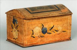 A small 19th century German yellow painted pine domed box The lid with applied lithographic panel