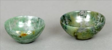 Two small moss agate bowls The largest 5 cms diameter. (2) Slight rim fritting.