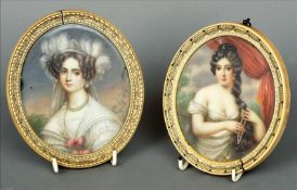 Two 19th century portrait miniatures on ivory One depicting a young lady wearing a pearl necklace
