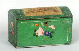 A small 19th century German green painted pine domed box The lid with applied lithographic panel