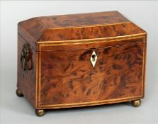 A Regency yewwood tea caddy The line inlaid domed hinged rectangular top enclosing two lidded