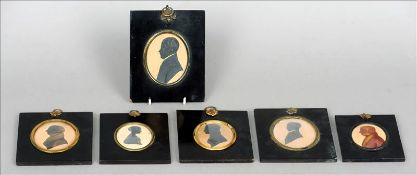 Six various 19th century portrait silhouettes Some gilt highlighted, all framed and glazed. The