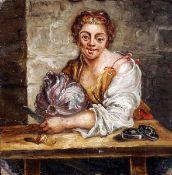 Manner of WILLIAM HOGARTH (1697-1764) British Cabbage Girl Oil on board 13 x 13.5 cms, unframed