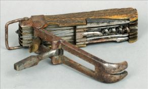 A 19th century antler handled multi-tooled pocket knife Set with various tools, blades and a