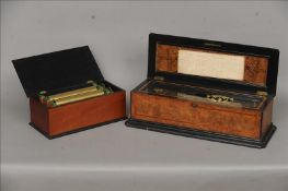 A 19th century burr walnut cased music box, possibly Nicole Freres The crossbanded and ebonised