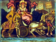A 19th century print on glass Queen Caroline's triumph on the defeat of the bill of pains and