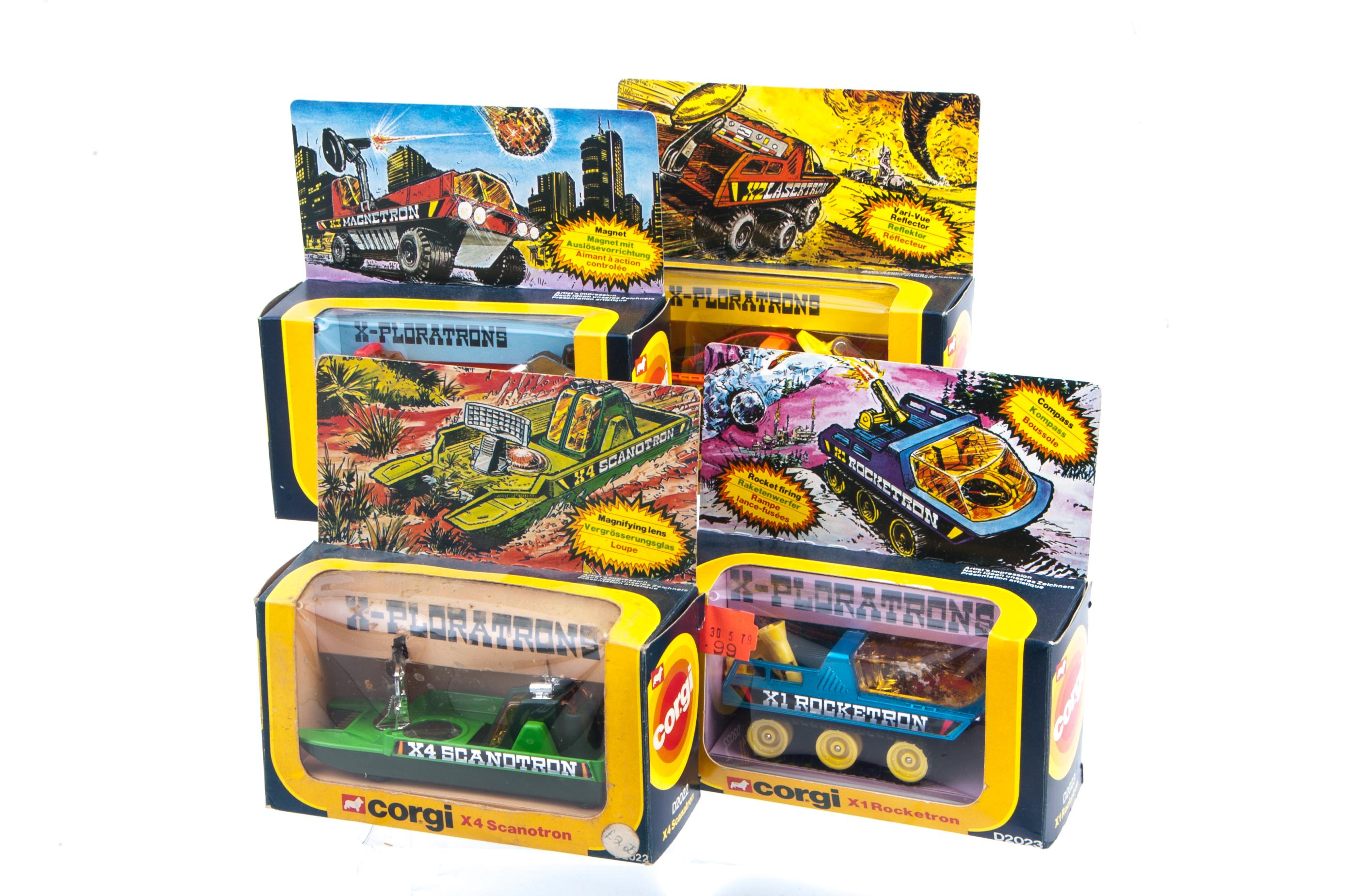 Corgi Toys 1979 X-Ploratrons, D2022 X-4 Scanotron (2), D2023 X1 Rocketron, D2024 X2 Lasertron and X3