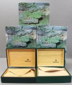 FIVE ROLEX WRIST WATCH BOXES CIRCA 1980/90s, NUMBERS INCLUDE 68.00.06, 68.00.01 FOR ROLEX DATEJUST,