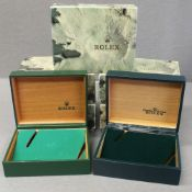FIVE RARE ROLEX OYSTER WRIST WATCH BOXES CIRCA 1970/80s, NUMBERS INCLUDE 67.00 03, 67.00.08, 10.