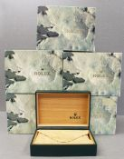 FIVE ROLEX WRIST WATCH BOXES CIRCA 1980/90s, NUMBERED 68.00.01 FOR ROLEX DATEJUST, DAYTONA,