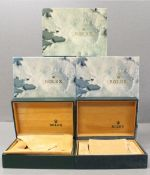 FIVE ROLEX WRIST WATCH BOXES CIRCA 1980/90s, NUMBERED 68.00.55 FOR ROLEX OYSTER PERPETUAL, DAYTONA,