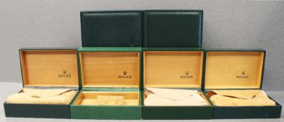 SIX ROLEX WRIST WATCH BOXES CIRCA 1980/90s, NUMBERS INCLUDE 68.00.08, 68.00.02, 68.00.71, 68.00.55