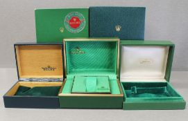 THREE RARE ROLEX OYSTER WRIST WATCH BOXES CIRCA 1970/80s, ONE NUMBERED 67.00.03 AND TWO HAVE NO