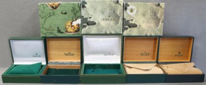 FIVE ROLEX WRIST WATCH BOXES CIRCA 1970/80/90s, NUMBERS INCLUDE 67.00.08, 62.001, 67.00.03 11.002