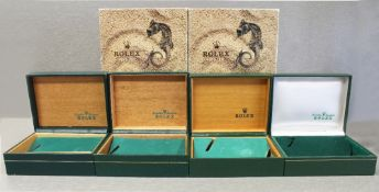 FOUR RARE ROLEX OYSTER WRIST WATCH BOXES CIRCA 1970/80s, NUMBERS INCLUDE 10.001, 11.002, 67.00.08,