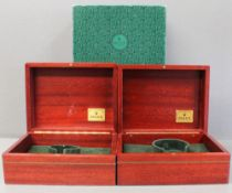 TWO ROLEX WRIST WATCH BOXES CIRCA 1990/2000s, NUMBERED 81.00.09 FOR ROLEX DAY-DATE MODELS Wood