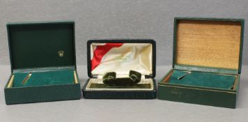 THREE RARE ROLEX OYSTER WRIST WATCH BOXES CIRCA 1940/60s/70s, ONE BOX NUMBERED 10.00.1, THE OTHERS