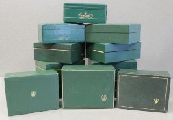 TWELVE RARE ROLEX OYSTER WRIST WATCH BOXES CIRCA 1970/80s, WITH NO WATCH HOLDERS, NUMBERS INCLUDE