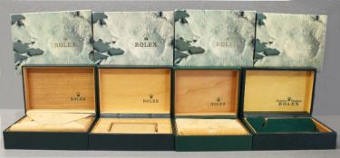 FOUR ROLEX OYSTER WRIST WATCH BOXES CIRCA 1980/90s, NUMBERS INCLUDE 68.003, 67.00.01, 68.00.08, 68.