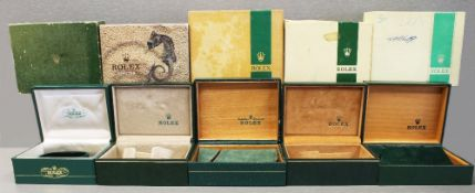 FIVE RARE ROLEX OYSTER WRIST WATCH BOXES CIRCA 1970/80s, NUMBERS 10.00.01, 67.00.08, 06.00.06, FOR