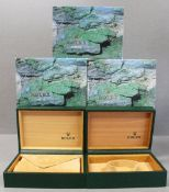 FIVE ROLEX WRIST WATCH BOXES CIRCA 1980/90s, NUMBERS INCLUDE 68.00.71, 68.00.02 FOR ROLEX DATEJUST