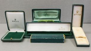 FIVE RARE ROLEX WRIST WATCH BOXES CIRCA 1950/60/70s, FOR ROLEX POCKET WATCH, EXPLORER, PRECISION