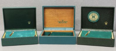 THREE RARE ROLEX OYSTER ``COFFIN`` WRIST WATCH BOXES CIRCA 1960/70s, NUMBERS INCLUDE 10.001, 67003