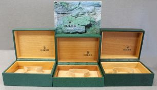 THREE ROLEX WRIST WATCH BOXES CIRCA 1990s, NUMBERS INCLUDE 67.00.55, 64.00.02, 64.00.01 FOR ROLEX