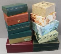 TEN ASSORTED ROLEX WRIST WATCH BOXES CIRCA 1960/70/80/90s, NUMBERS INCLUDE 53.00.01, 03.00.08, 59.