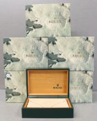 FIVE ROLEX WRIST WATCH BOXES CIRCA 1980/90s, NUMBERED 68.00.02 FOR ROLEX DATEJUST, OYSTER QUARTZ