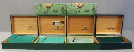 FOUR RARE ROLEX OYSTER WRIST WATCH BOXES CIRCA 1970/80s, NUMBERS INCLUDE 10.001, 10.00.01, 67.003,