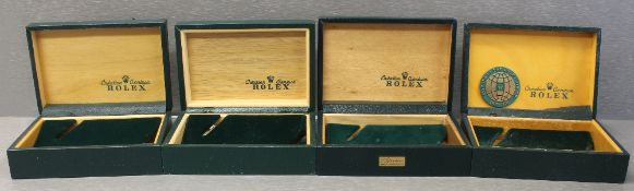 FOUR RARE ROLEX OYSTER WRIST WATCH BOXES CIRCA 1970/80s, NUMBERS INCLUDE 68.003, 68.00.06, 68.002,