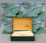FOUR ROLEX WRIST WATCH BOXES CIRCA 1980/90s, NUMBERED 68.00.08 FOR ROLEX DATEJUST, GMT MASTER,