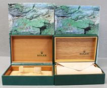 FOUR ROLEX OYSTER WRIST WATCH BOXES CIRCA 1990s, NUMBERED 68.008 Green vinyl covered cases, green