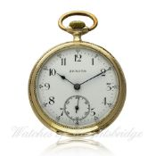 A GENTLEMAN`S 14K SOLID GOLD ZENITH POCKET WATCH CIRCA 1915, REF. 059515 D: Enamel dial with applied