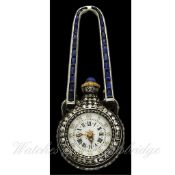 "A FINE & RARE LADIES SOLID GOLD, DIAMOND & SAPPHIRE PENDANT ""FORM""WATCH CIRCA 1890 D: White enamel"