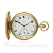 A GENTLEMAN`S 9CT SOLID GOLD FULL HUNTER ZENITH POCKET WATCH CIRCA 1920s RETAILED BY JAY`S