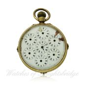 A GENTLEMAN`S 18K SOLID GOLD DOUBLE DIAL WORLD TIME TRIPLE CALENDAR MOONPHASE POCKET WATCH CIRCA