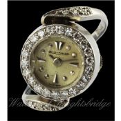 A RARE LADIES 18K SOLID WHITE GOLD & DIAMOND JAEGER LECOULTRE RING WATCH CIRCA 1950s D: Silver