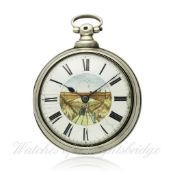 A GENTLEMAN`S SOLID SILVER PAIR CASED FUSEE VERGE POCKET WATCH CIRCA 1820 D: Enamel dial with a