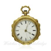 A LADIES 18K SOLID GOLD POCKET WATCH BY GIRARD & BORNA CIRCA 1860 D: Enamel dial with applied