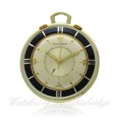 A GILT METAL JAEGER LECOULTRE ALARM TRAVEL WATCH/CLOCK CIRCA 1950s D: Two piece silver dial with