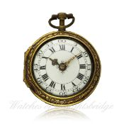 A GILT METAL REPOUSSE PAIR CASE FUSEE VERGE POCKET WATCH CIRCA 1790 BY FRE DE ROCHES & PRE EYNOUF D: